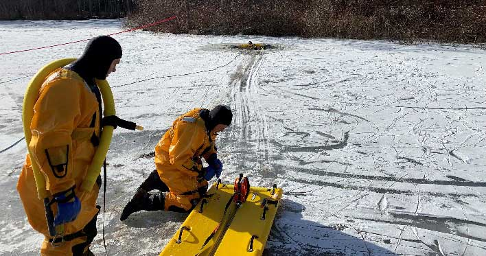 Orange Fire Department Members Practice Ice Rescue Techniques